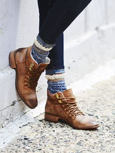 Love these, esp with the unusual socks, very textural look... Free People Ventura Hiker Boot at Free People Clothing Boutique