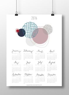 "DIY Printable Calendar 2016 Planner,wall/desk calendar,agenda,month/year,digital,JPG,Contemporary Design with Calligraphy:""Floating Circles"""