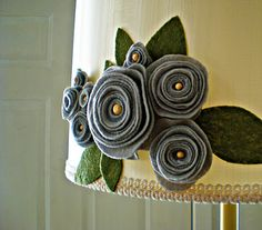 felt flower lampshade. great way to dress up a boring lamp!