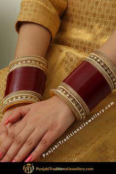 Punjabi Bridal Chura - New Design Bridal Chura Best Price Online Indian Bridal Outfits, Indian Bridal Fashion, Bridal Bangles, Bridal Jewelry, Wedding Chura, Punjabi Traditional Jewellery, Bridal Chuda, Gold Mangalsutra Designs, Bridal Tips