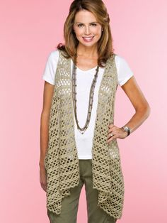 Bandolier Vest - $  This stylish draped vest, worked end to end in one piece with armhole slits, can easily be adjusted in size by adding or subtracting rows. This e-pattern was originally published in Easy, No-Sew Crochet.     Size: Includes Woman's small through 3XL. Made with medium (worsted) weight yarn and sizes E (3.5mm) and F (3.75mm) hooks
