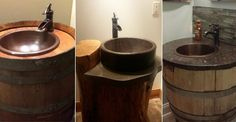 but differant,i love. Rustic Bathroom Fixtures, Amazing Bathrooms, Sink, Vanity, Home Decor, Awesome, Sink Tops, Dressing Tables, Vessel Sink