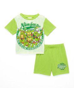 This Green & White Teenage Mutant Ninja Turtles Pajama Set - Toddler is perfect! #zulilyfinds