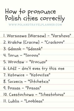 How to pronounce Warszawa? Here's the list how to pronounce different Polish cities with English transcription! Poland Culture, Polish To English, Learn Polish, Polish Words, Polish Language, Poland Travel, How To Pronounce, Krakow Poland, Polish Recipes