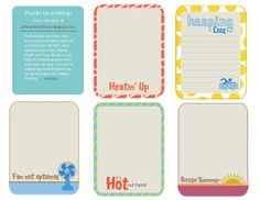 Free Summer Journal Cards