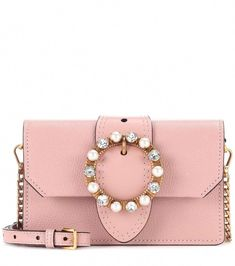 d9157b3934fd Miu Miu - Leather shoulder bag - Lend your ensemble an evocatively feminine  note with Miu Miu s petite leather shoulder bag. The blush-pink miniature  style ...