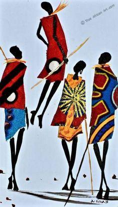 African Artwork for Sale by African Artist Albert Lizah African Artwork, African Art Paintings, Watercolor Art Paintings, African Artists, African Dolls, Pintura Tribal, African American Art, African Women, Ghana Art
