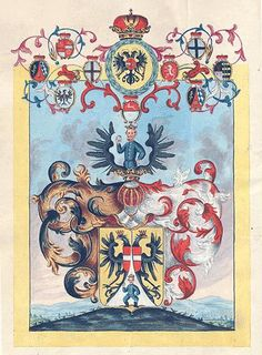 Austrian Grant of Nobility and of Arms to Franz von Zwerger by Holy Roman Emperor Charles VI, 24 Juin 1737.