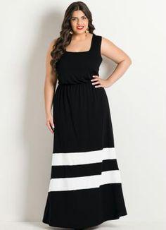 Vestido Longo Preto Listras Brancas Plus Size - Posthaus