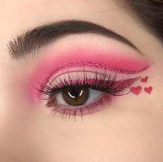beste ideer for Nails Valentinsdag Øyenskygge Edgy Makeup, Eye Makeup Art, Colorful Eye Makeup, Cute Makeup, Makeup Inspo, Eyeshadow Makeup, Makeup Ideas, Pink Eyeshadow, Makeup Tips