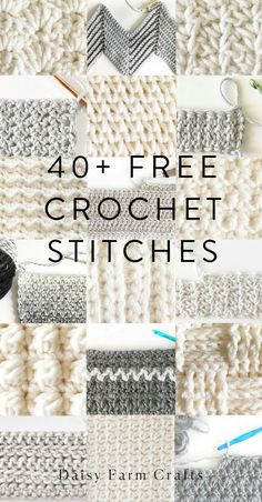 Free Crochet Stitches from Daisy Farm Crafts - knitting is as easy as 1 . - Free Crochet Stitches from Daisy Farm Crafts – knitting is as easy as 3 Knitting boils - Crochet Simple, Easy Crochet Stitches, Stitch Crochet, Crochet Daisy, Knitting Stitches, Knitting Patterns, Different Crochet Stitches, Crochet Flowers, Knit Crochet