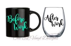 Before Work / After Work -2 Decal set for a DIY Coffee Mug and a Wine Glass ... Glass NOT Included Glass Coffee Mugs, Coffee Mug Sets, Mugs Set, Vinyl Designs, Wine Glass, Decals, How To Apply, Tracking Number, Tableware