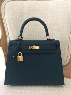 Hermes Kelly Bag 25cm 25 Blue Colvert Epsom Sellier BNIB eBoutique Has