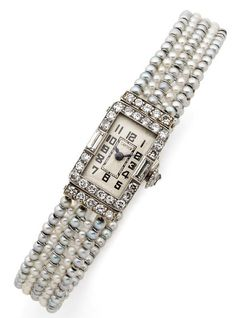 Cartier. To 1930. Elegant lady watch platinum Art Deco