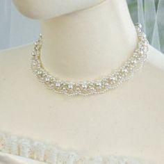 フラワーレースチョーカー ネックレス 手作り キット 花嫁 結婚式 ウエディング パール