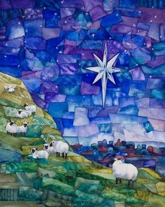 Pastor Adam likes - Giclee reproduction of original watercolor by BlueSkyWatercolors. Beautiful and serene. Christmas Nativity, Christmas Crafts, Christmas Print, Watercolor Paintings, Original Paintings, Church Banners, Christmas Paintings, Bible Art, Christian Art
