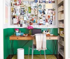 I love this home office from the amazing mood board to the desk to the green on the wall. Lovely!