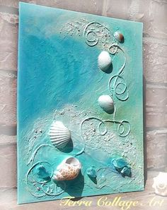 The Wave Original Mixed Media Art by TerraCollageArt on Etsy, - lovely use of shells