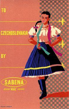 Vintage Poster Czechoslovakia , Sabena  C 1950 via flickr