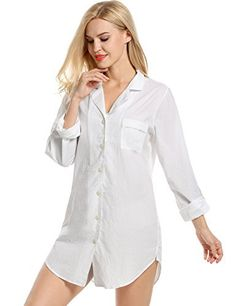 ebc856e772 Avidlove Womens Sleep Shirt Luxury Sleepwear Long Sleeve Button-Front  Nightshirts  sleepwear  nightshirts