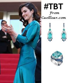 At the 2015 Cannes Film Festival, Rachel Weisz wore white gold diamond, sapphire and acquamarine earrings and ring from Chaumet.