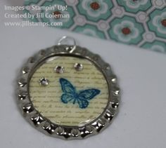 Soda Pop Top Necklace Tutorial  with card, uses SU supplies and Big Shot