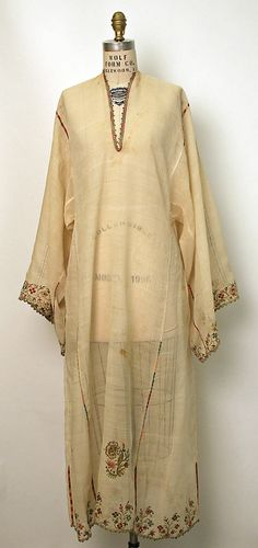 Dress (Underdress) Date: early century Culture: Greek Medium: silk, linen, metal thread This would be gorgeous with a deep red slip! Vintage Dresses, Vintage Outfits, Vintage Fashion, Moslem, Hippy Chic, Folk Costume, Ao Dai, Historical Clothing, Larp