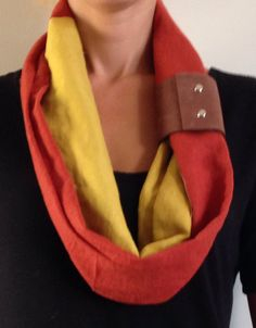 Fall Infinity Scarf w/Leather Cuff by KutKloth on Etsy, $15.00