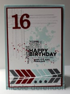 Stampin up Gorgeous Grunge & Delightful dozen teen birthday card By Nicole Derendorf