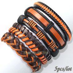FL30-free shipping (5pcs/lot) popular gift hand made black orange  tribal ethnic charms genuine braid leather bracelet