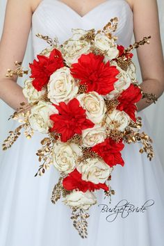 Cascading brides bouquet in red and gold make a statement with this bouquet Gold Wedding Bouquets, Red Wedding Flowers, Gold Wedding Theme, Bride Bouquets, Flower Bouquet Wedding, Wedding Themes, Wedding Colors, Flower Bouquets, Red Wedding Receptions