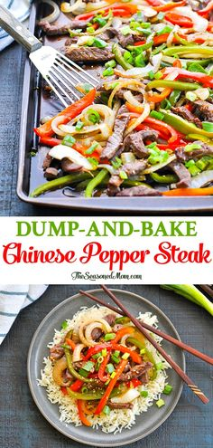 Healthy Recipes Dump-and-Bake Chinese Pepper Steak is an easy and healthy sheet pan dinner that's ready with just 10 minutes of prep! Easy Healthy Dinners, Healthy Dinner Recipes, Easy Dinners, Low Cholesterol Recipes Dinner, Healthy Soup, Breakfast Recipes, Asian Recipes, Beef Recipes, Easy Chinese Food Recipes