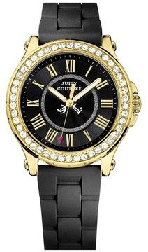 Juicy Couture 'Pedigree' Crystal Bezel Silicone Strap Watch, 38mm on shopstyle.com