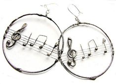 Melody Musical circles earrigs stained glass tiffany  Huge Retro vintage style oxydized  stylized in old silver colour by GepArtJewellery