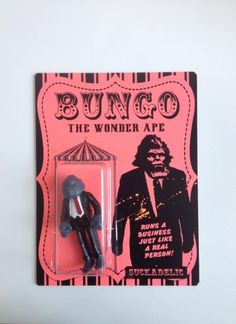 Bungo, the Wonder Ape (LE 10) $85 A brand new, instantly classic Sucklord Bootleg figure presented on a 6.5 x 8.5 in. backing card. Limited to an edition of 10 pieces.