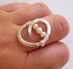 pearl wire wrapped sterling silver ring