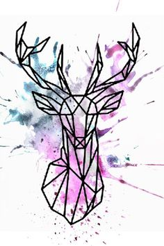 animal drawings Watercolor geometric deer design More - The geometric tattoo is one of the tattoos that has grown in popularity and retains it's staying power. Its one of the cool, incredible tattoos that many tattoo lovers and artist among other people… Geometric Deer, Geometric Drawing, Geometric Designs, Geometric Shapes, Geometric Tattoo Animal, Geometric Painting, Geometric Tattoos, Aztec Tribal Tattoos, Tribal Shoulder Tattoos