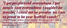 Coach Rhoads' locker room speech following a 9-7 win at Nebraska, and recording the Cyclones first victory in Lincoln since 1977!