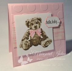 handmade baby card by Margaret Johnson ... three stamp teddy beary ... pretty pink papers ... big dot embossing folder texture ... awesomely sweet card!