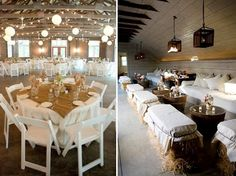 burlap & hay bails this is so cute for a wedding or party!