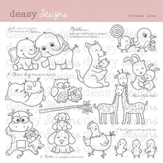 Forever Love - cute set for creating greeting cards, baby themes, invitations, scrapbooks etc.