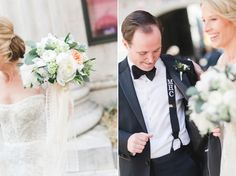 Bridal bouquets and monogrammed suspenders   #bride #groom #groomsmengift   via The Styled Bride