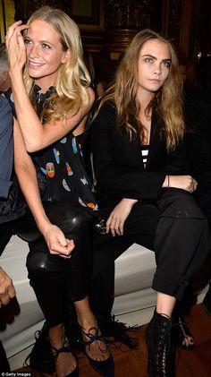 Front row: Cara and Poppy Delevingne enjoyed Stella McCartney's Paris Fashion Week show fr...