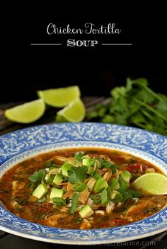 Chicken Tortilla Soup - I skip the tortilla strips and use fresh corn off the cob added at the very end.