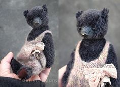 Tulip Black  Miniature 6 1/4  Mohair Artist Teddy by aerlinnbears