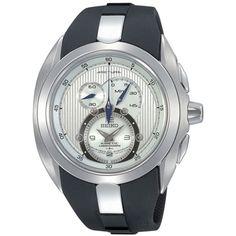 Seiko Men's SNL049 Black Rubber Quartz Watch with Silver Dial