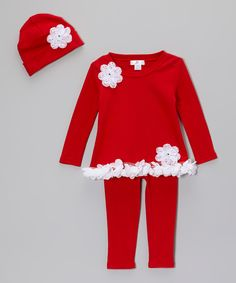 Loving this Red & White Gem Flower Tunic Set - Infant on #zulily! #zulilyfinds