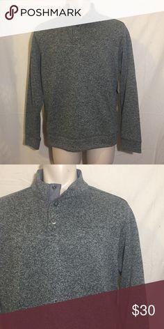 Buttoned Mock Neck Fleece Heathered Gray button mock neck fleece sweater by Paradise Collection Paradise Collection Sweaters