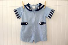 Vintage Boy Clothes Sailor Romper Navy Denim by MyVintageBabyFair, $22.00  Nic had this outfit! 1984