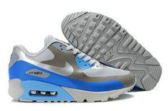 brand new a5a5b 6d16c Pas Cher Destock Nike Air Max 90 Hyperfuse Premium - Blanc Gris Metallic  argent bleu Glow